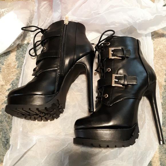 Platform Stiletto Booties Lace Up W